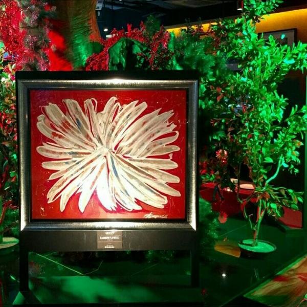 """RAINBOW FLOWER 2""Gesso ,acrylics on wood panel"